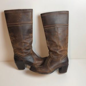 Frye Jane Distressed Leather boots  Knee High 14l